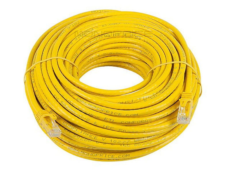 Monoprice FLEXboot Cat6 Ethernet Patch Cable - Snagless RJ45, Stranded, 550MHz, UTP, Pure Bare Copper Wire, 24AWG, Yellow