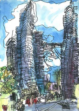 "04101 Twin Towers I - Painted at age 10 - Print on A3 Paper (11.6""x 16.5"")"