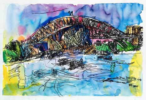05001 Sydney Harbour Bridge & Opera House I - Painted at age 11