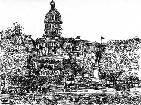 05008 US Capitol Building (B/W) - Painted at age 11 - (Limited Edition of 300)