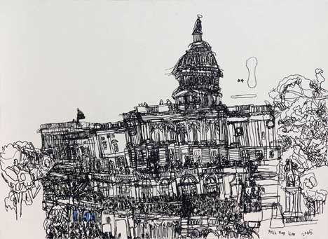 05011 Capitol Building III (B/W) - Painted at age 11