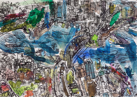05012 Sydney Harbour, Opera House, Harbour Bridge & City Centre - Painted at age 11