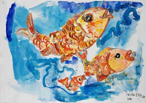 "05431 Happy Fishes I - Painted at age 11 - Print on A3 Paper - 11.6""x 16.5"""
