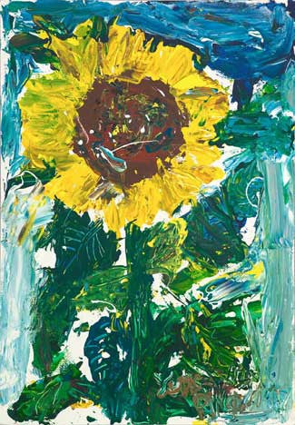 "05506 Sunflower III - Painted at age 11- Print on 24"" Canvas - 20.0""x 28.7"""