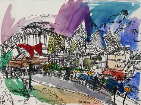 06002 Sydney Harbour Bridge & Opera House V - Painted at age 12
