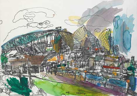 06003 Sydney Opera House & Harbour Bridge- Night Scene - Painted at age 12