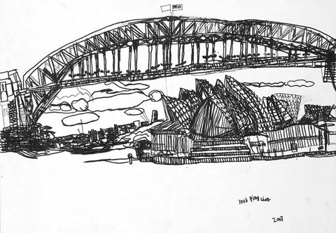 07011 Sydney Opera House & Harbour Bridge 07 II (B/W) - Painted at age 13