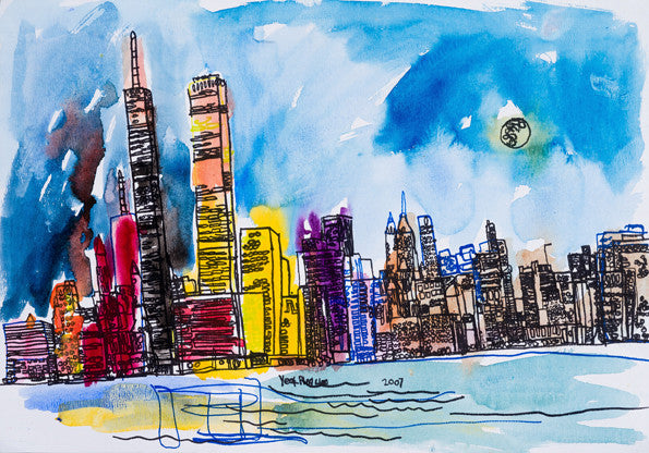 "07021 New York City - Painted at age 13 -Print on A3 Size Paper - 11.6""x 16.5"""