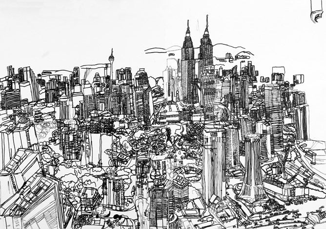 08103 Kuala Lumpur City(B/W) (double-pages) 75x100cm - Drawn at age 14