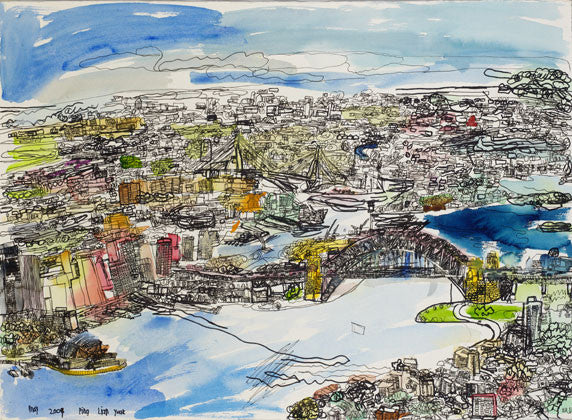 "09001 Sydney City - Painted at age 15 (2009) -Print on A3 Size Paper - 11.6""x 16.5"""