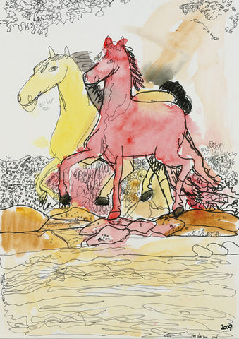 "09301 Horses Galloping - Painted at age 15 -Print on A3 Size Paper - 11.6""x 16.5"""