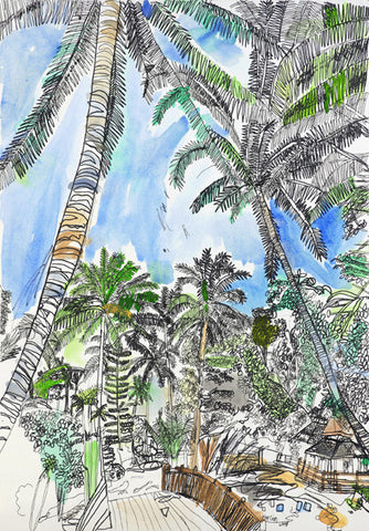 "09902 Coconut Trees - Painted at age 15 -Print on A3 Size Paper - 11.6""x 16.5"""