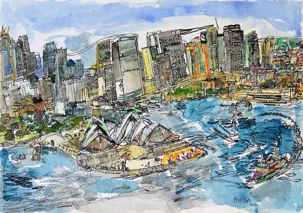 "10002 Sydney Opera House - Painted at age 16 - Print on A2(16.5x 23.3"") Fine Art Paper"