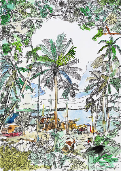 10901 Coconut Trees (Kampung / Village) - Painted in 2010 (Limited Edition of 300)