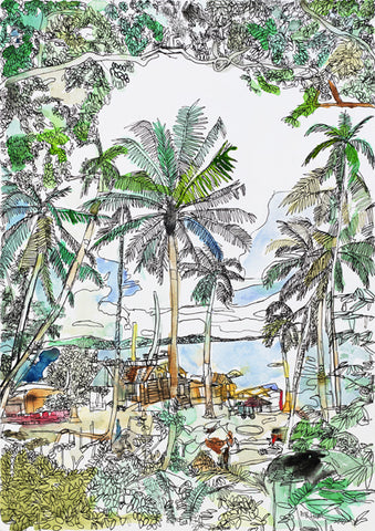 "10901 Coconut Trees (Kampung / Village) - Painted in 2010 - Print on A2(16.5x 23.3"") Fine Art Paper (Limited Edition of 300)"