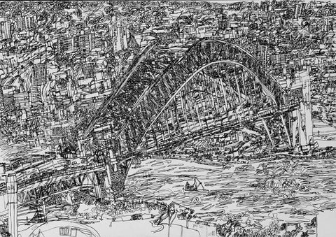 "11010 Sydney Harbour Bridge - Drawn in 2011- Print on A2(16.5x 23.3"") Fine Art Paper"
