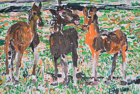 "11303 Horses - Painted in 2011 -Print on A3 Size Paper - 11.6""x 16.5"""