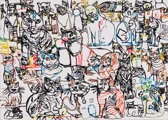 "13403 Cats - Drawn in 2013 - Print on A3 Size Paper -  11.6""x 16.5"""