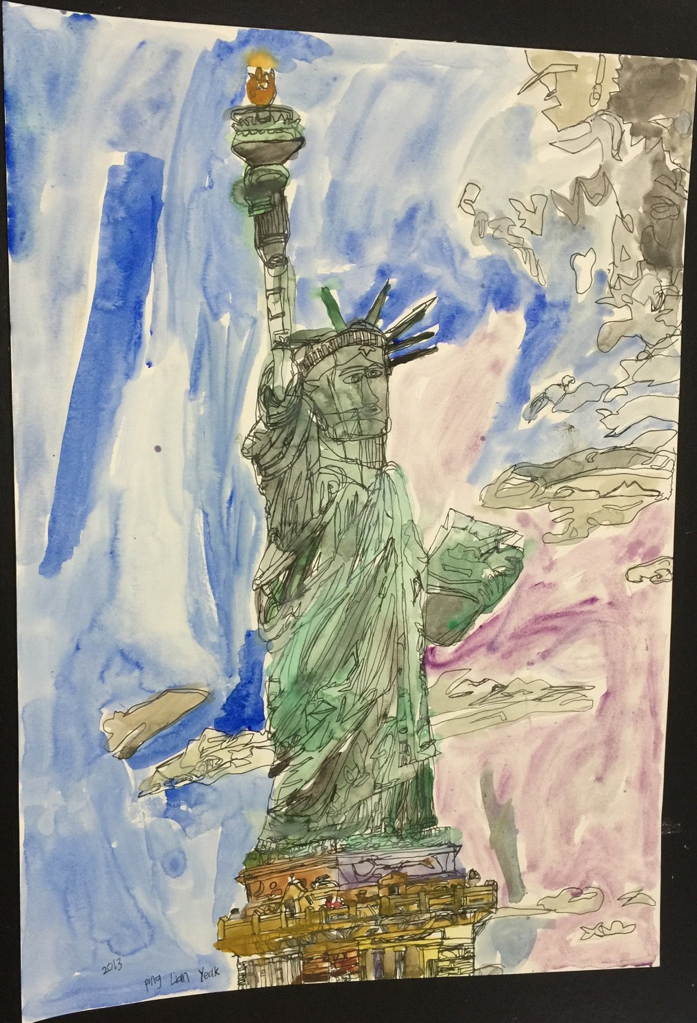Original 15010 Statute Of Liberty - Painted in 2015 - 16.5x23.3 inches