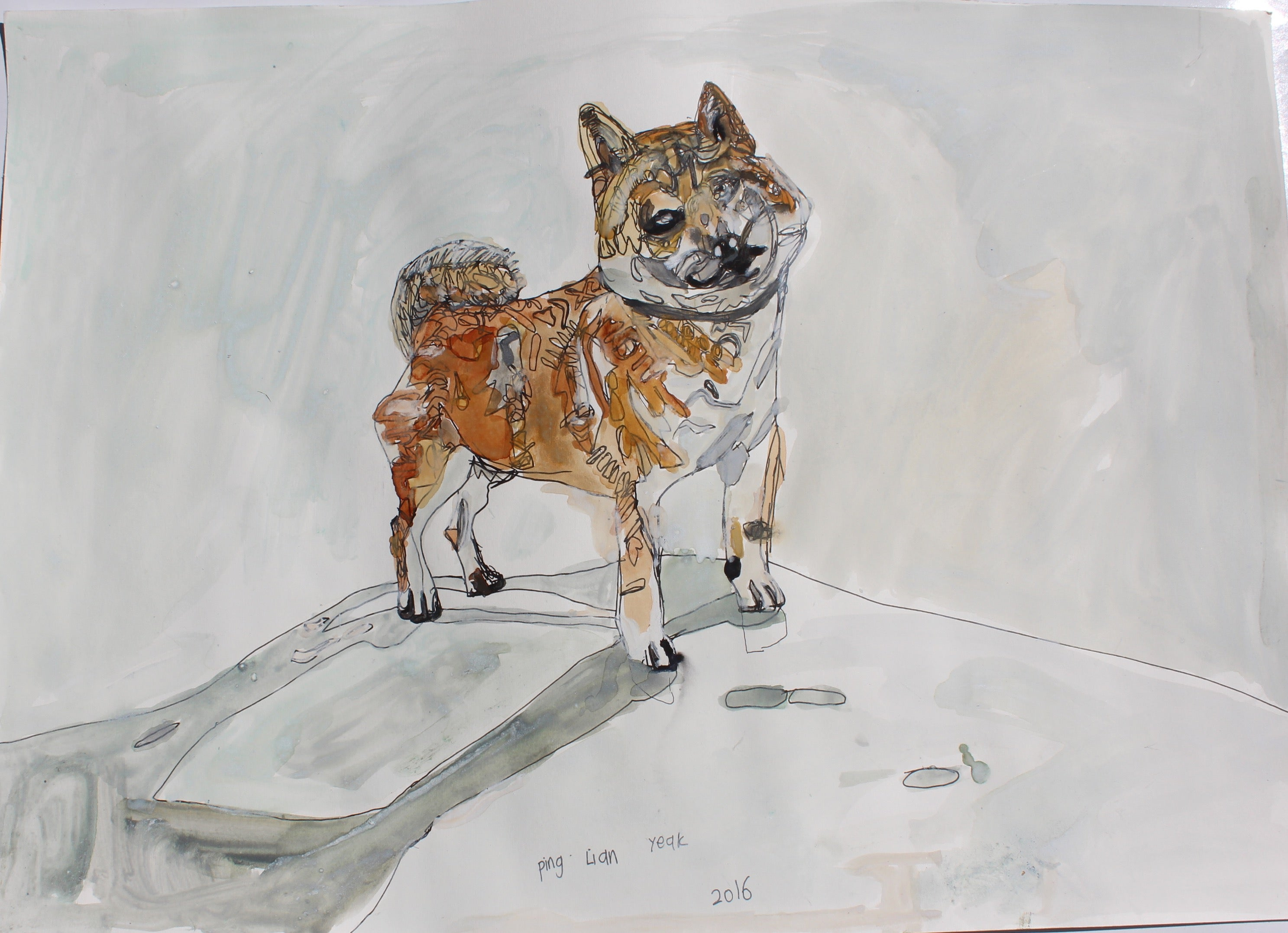 Original 16402 My Dog (Shiba Inu) - Painted in 2016 - 16.5 X 23.3 inches
