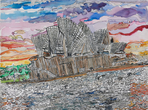 Original 18001 Sydney Opera House - Painted in 2018 - 22.4x29.9 inches