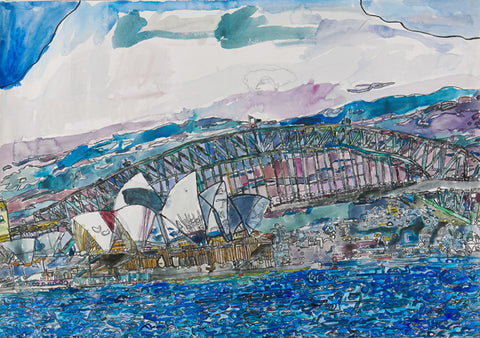 Original 19002 Sydney Opera House and Harbour Bridge- Painted in 2019 - 20.6x29.5 inches