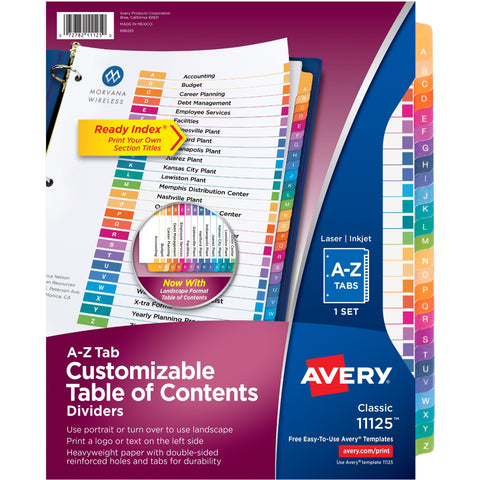 Avery® Ready Index A-Z Table of Contents Dividers SKU: AVE 11125