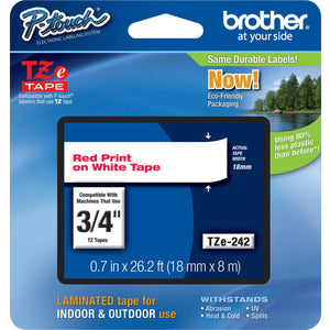 "Brother 18mm (0.7"") Red on White tape for P-Touch 8m (26.2 ft)"