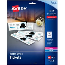 Avery® Blank Printable Perforated Raffle Tickets - Tear-Away Stubs, 16154