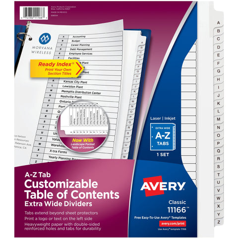 Avery® Extra Wide A-Z Tabs Ready Index Dividers SKU: AVE 11166