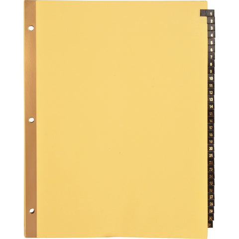 Business Source 1-31 Black Leather Tab Index Dividers SKU: BSN 01182