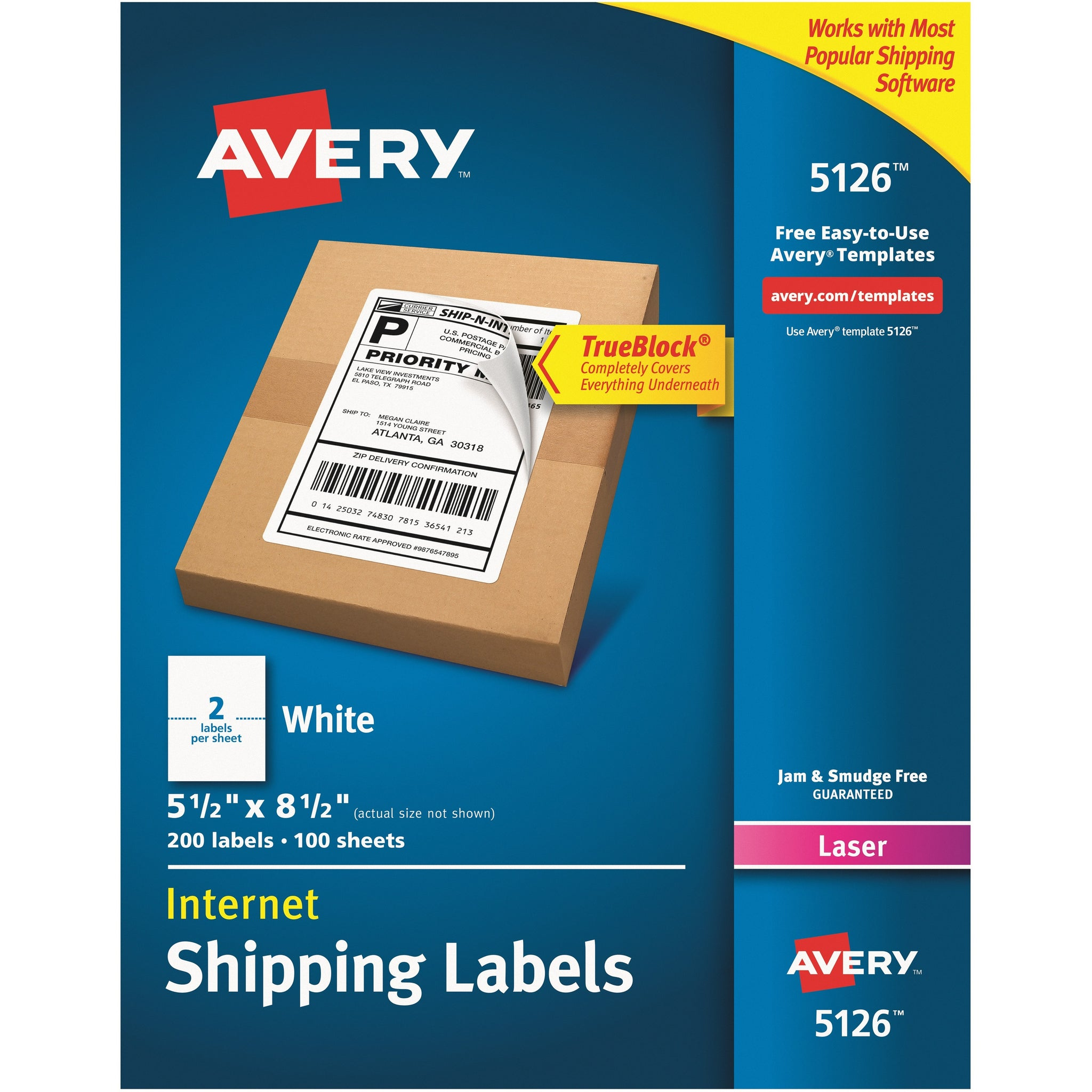 "Avery® TrueBlock Shipping Labels, 5-1/2"" x 8-1/2"" , 200 Labels (5126)"