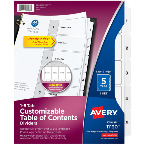 Avery® Ready Index Classic Tab Binder Dividers SKU: AVE 11130