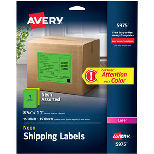 "Avery® Assorted Neon Shipping Labels, 8-1/2"" x 11"" , 15 Labels (5975)"