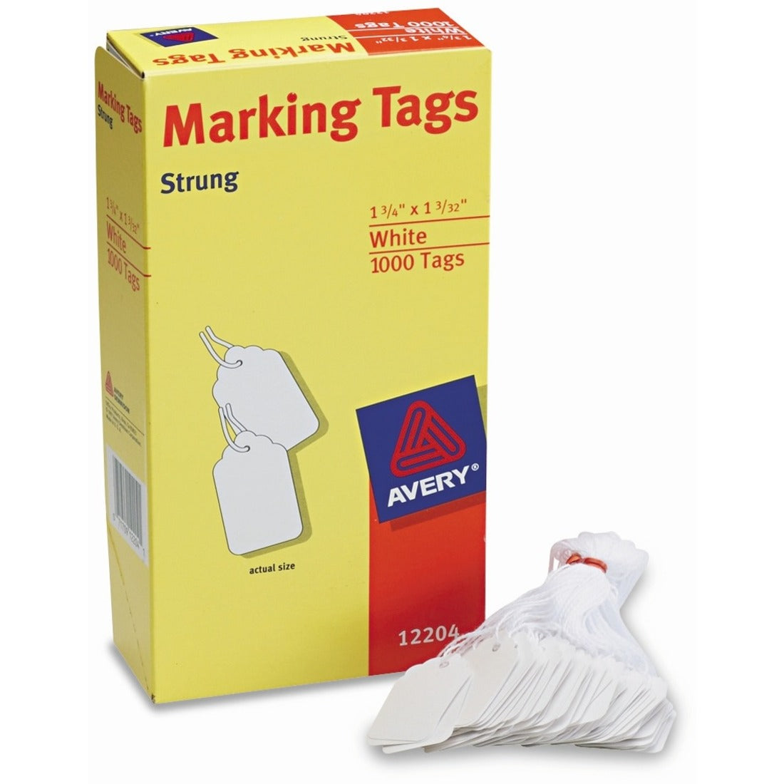 "Avery® Marking Tags, Strung, 1-3/4"" x 1-3/32"" , 1,000 Tags (12204)/ OR 50 TAG BUNDLES"