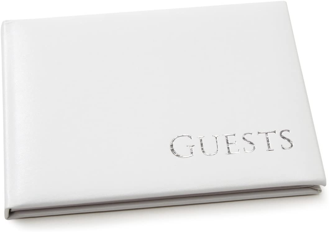 Darice 35934 Embossed Guest Book, White with Silver Writing