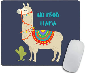 Cute Cartoon Llama Cactus Design with No Prob Llama Mouse pad Motivational Quote Mousepad