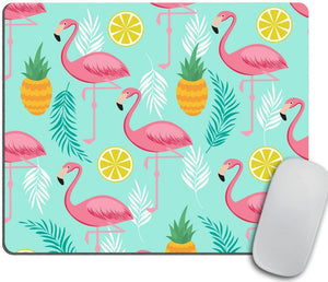 Pink Flamingo Mouse Pad, Pineapples and Exotic Leaves Mousepad