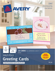 Avery Greeting Cards, Inkjet Printers, 20 Blank Cards and Envelopes, 5.5 x 8.5, Folded (3265)