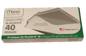 "MEAD SECURITY BUSINESS LEGAL ENVELOPES # 10 4 1/8"" x 9 1/2"" White 40 per Box"