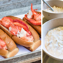 Load image into Gallery viewer, 4 pack lobster roll kit with clam chowder