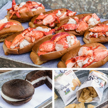 Load image into Gallery viewer, 8 pack kit of lobster rolls with chips and whoopie pie