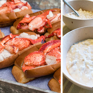 8 pack kit of fresh Maine lobster rolls with New England Clam Chowder