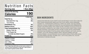 Ingredients and nutritional information for split top buns