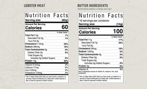 ingredients and nutritional information for Kate's Maine Butter and fresh lobster meat