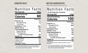 Lobster meat and butter nutrition facts and ingredients
