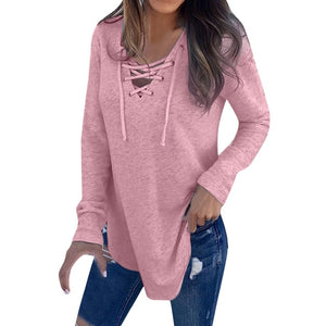 V Neck Strap Long Sleeve Oversize Fashion Top
