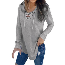 Load image into Gallery viewer, V Neck Strap Long Sleeve Oversize Fashion Top