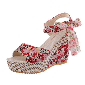 DAISY Floral Wedge Peep Toe