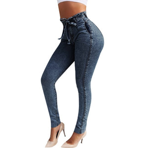 DAISY Women Autumn Elastic Jeans  with Belt